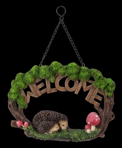 Hanging hedgehog Welcome Sign