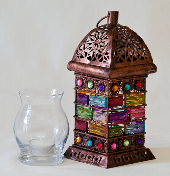 Image showing beautifully coloured Moroccan-style candle lantern