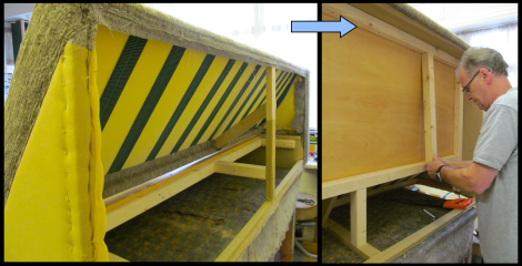 An image showing an upholsterer making a bed settee into a solid base settee.  Made by Advance Upholstery, Bispham, Blackpool.